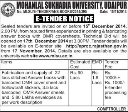 Supply of Answer books (Mohanlal Sukhadia University)