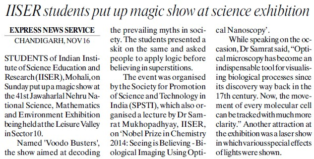 IISER students put up magic show at science exhibition (Indian Institute of Science Education and Research (IISER))