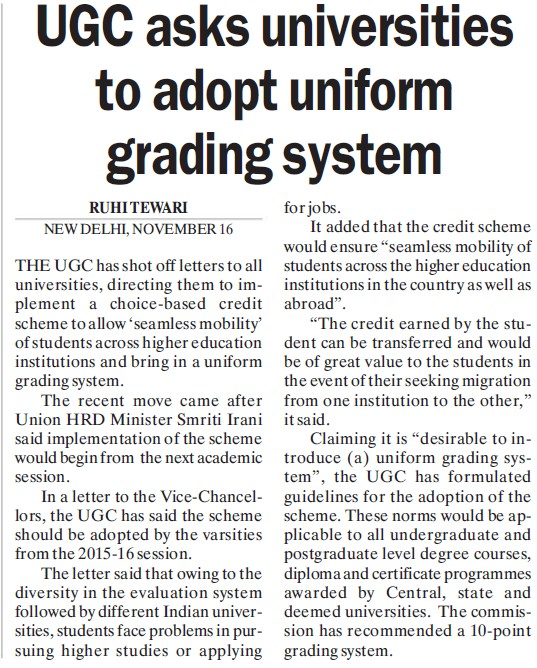 UGC asks universities to adopt uniform grading system (University Grants Commission (UGC))