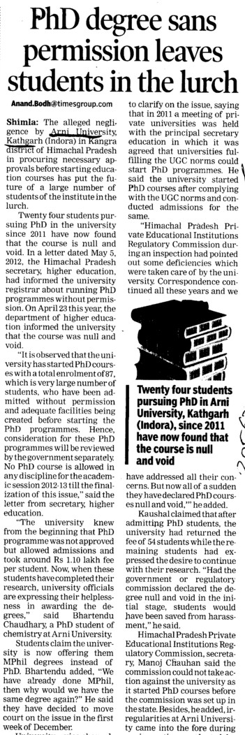 PhD degree sans permission leaves students in lurch (Arni University Kathgarh)