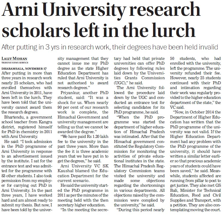 Arni researcher scholars left in lurch (Arni University Kathgarh)