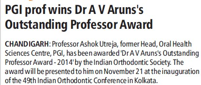 PGI Prof Dr AV Aruns awarded (Post-Graduate Institute of Medical Education and Research (PGIMER))