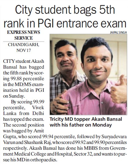 City student bags 5th rank in PGI entrance exam (Post-Graduate Institute of Medical Education and Research (PGIMER))