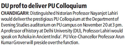 DU Prof to deliver PU Colloquium (Delhi University)