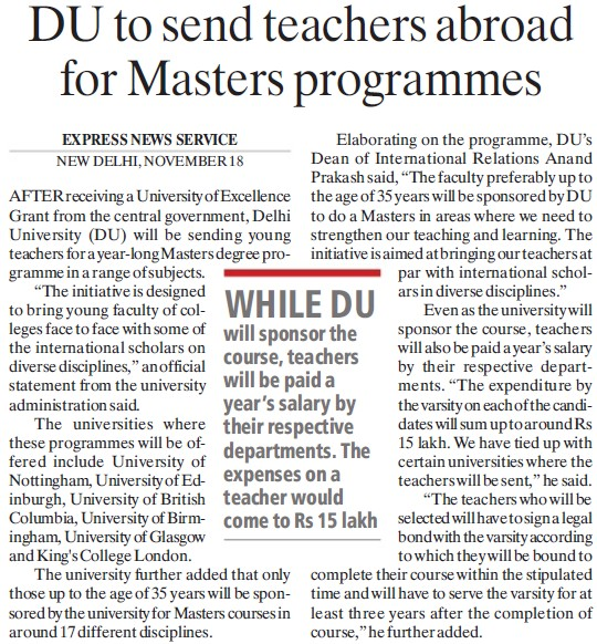 DU to send teachers abroad for Masters Programme (Delhi University)