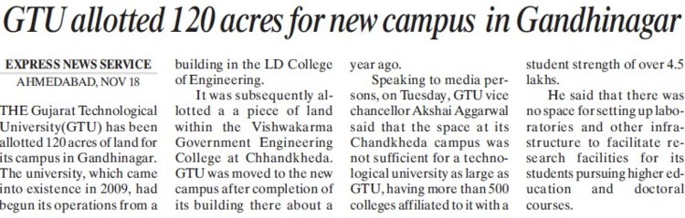 GTU allotted 120 acres for new campus (Gujarat Technological University)
