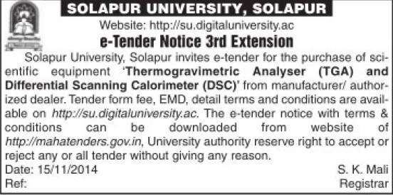 Purchase of TGA equipment (Solapur University)