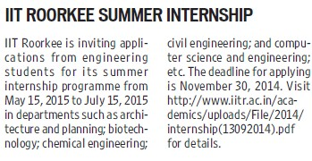 IIT Roorkee Summer Internship (Indian Institute of Technology (IITR))