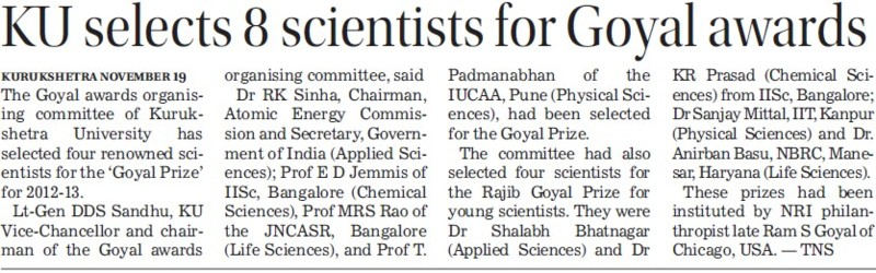 KU selects 8 scientist for Goyal awards (Kurukshetra University)