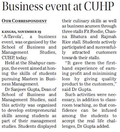 Business event at CUHP (Central University of Himachal Pradesh)