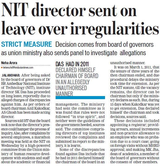 NIT Director sent on leave over irregularities (Dr BR Ambedkar National Institute of Technology (NIT))