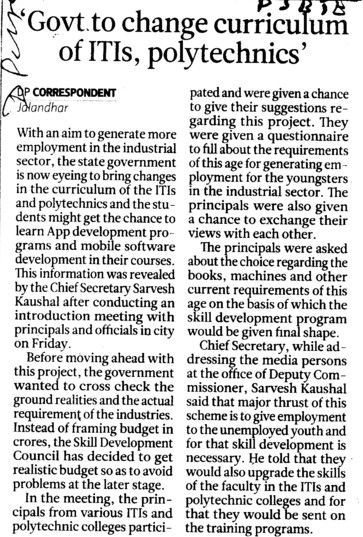 Govt to change curiculum of ITIs, Polytechnics (Punjab State Board of Technical Education (PSBTE) and Industrial Training)