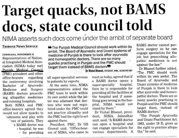 Target quacks, not BAMS docs state council told (PUNJAB MEDICAL COUNCIL)
