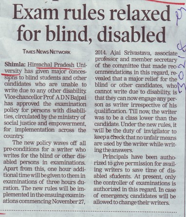 Exam rules relaxed for blind, disabled (Himachal Pradesh University)