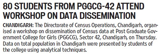 80 students attend workshop on Data Dissemination (PG Government College for Girls (GCG Sector 42))