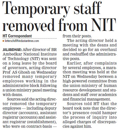 Temporary staff removed from NIT (Dr BR Ambedkar National Institute of Technology (NIT))