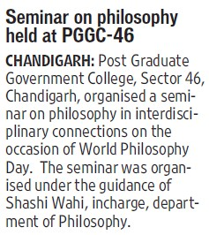 Seminar on Philosphy held (Post Graduate Government College, Co-Educational (Sector 46))