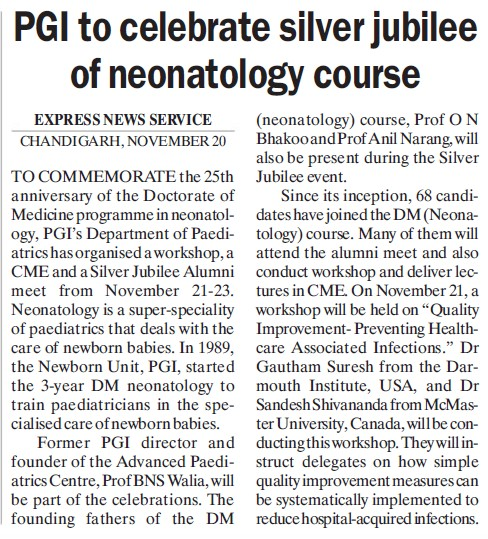 PGI to celebrate silver jubilee of neonatology course (Post-Graduate Institute of Medical Education and Research (PGIMER))