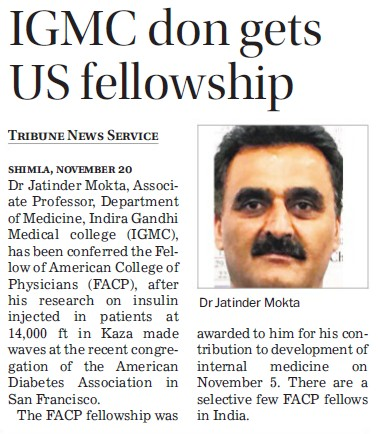 IGMC don gets US fellowships (Indira Gandhi Medical College (IGMC))