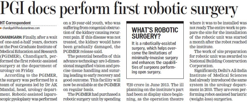 PGI docs perform first robotic surgery (Post-Graduate Institute of Medical Education and Research (PGIMER))