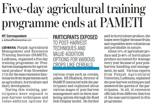 Agriculture training program held (Punjab Agricultural Management and Extension Training Institute (PAMETI))