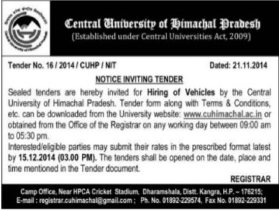 Hiring of Vehicles (Central University of Himachal Pradesh)