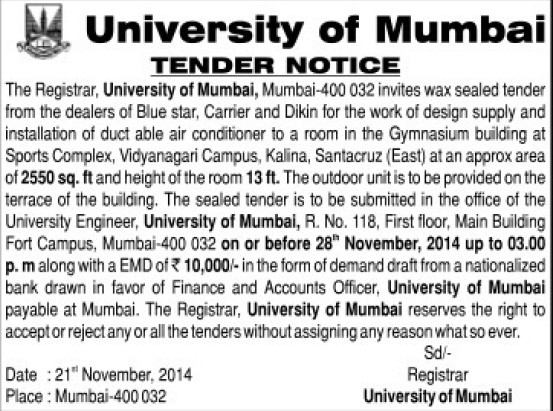 Supply of AC for Gymnasium building (University of Mumbai (UoM))