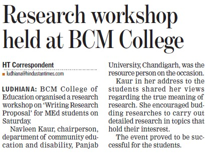 Research workshop held (BCM College of Education)