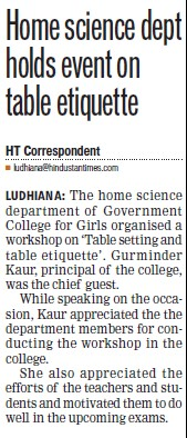 Home Science dept holds event in table etiquette (Government College for Women)