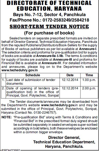 Supply of books (Directorate of Technical Education Haryana)