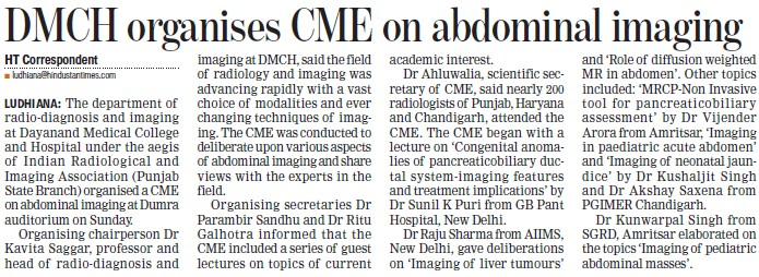 DMCH organises CME on abdominal imaging (Dayanand Medical College and Hospital DMC)
