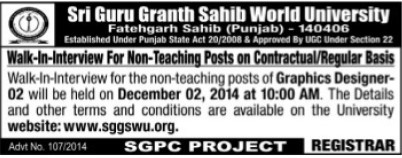 Non teaching staff on contract basis (Sri Guru Granth Sahib World University)