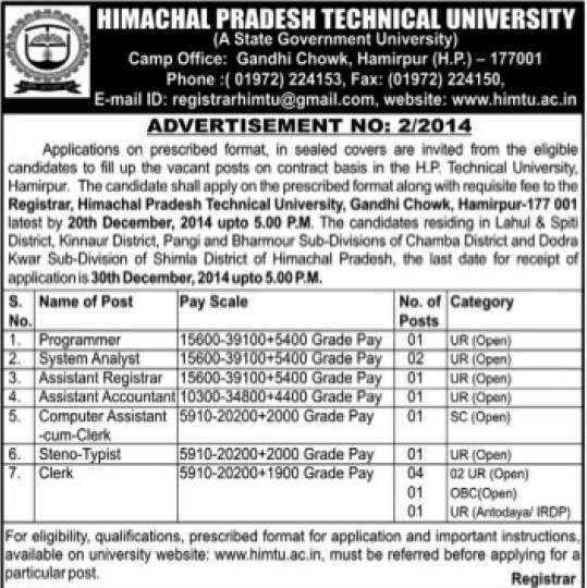 Programmer and System Analyst (Himachal Pradesh Technical University HPTU)