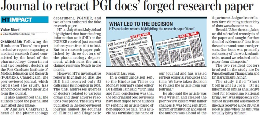 Journal to retract PGI docs forged research paper (Post-Graduate Institute of Medical Education and Research (PGIMER))