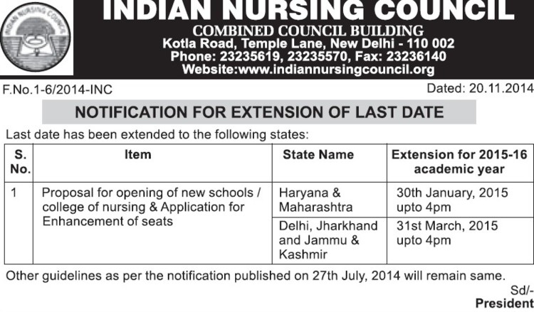 Proposal of opening new school (Indian Nursing Council (INC))