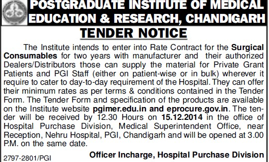 Supply of Surgical items (Post-Graduate Institute of Medical Education and Research (PGIMER))