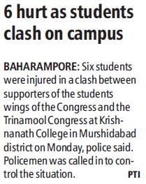 6 hurt as students clash on campus (Krishnath College (KN College))