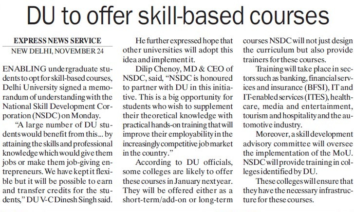 DU to offer skill based courses (Delhi University)