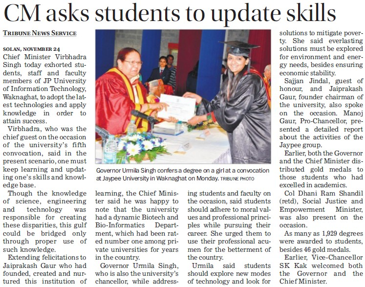 CM asks students to update skills (Jaypee University of Information Technology (JUIT))