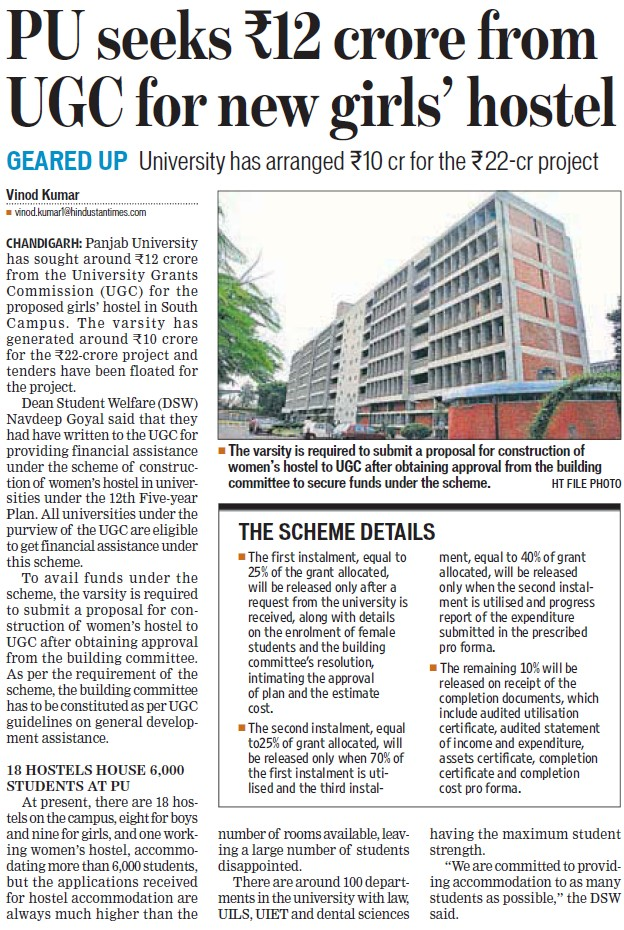 PU seeks Rs12 cr from UGC for girls hostel (University Grants Commission (UGC))