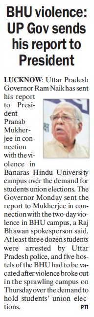 UP Gov sends his report to President (Banaras Hindu University)