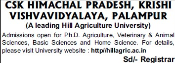 PhD in Agriculture (Chaudhary Sarwan Kumar (CSK) Himachal Pradesh Agricultural University)