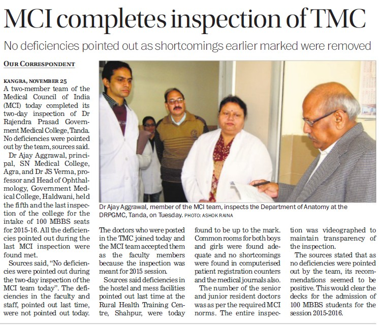 MCI completes inspection of TMC (Medical Council of India (MCI))