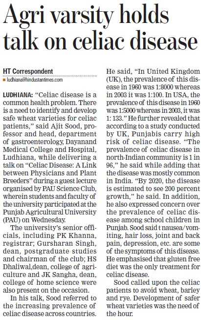 University holds talk on celiac disease (Punjab Agricultural University PAU)