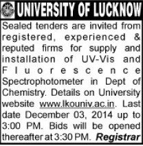 Supply of UV Vis (Lucknow University)