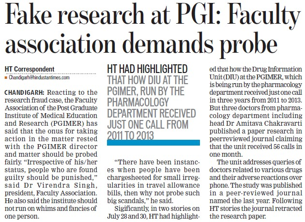 Fake researcher at PGI (Post-Graduate Institute of Medical Education and Research (PGIMER))