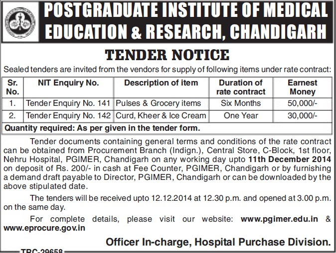 Supply of Curd and Kheer items (Post-Graduate Institute of Medical Education and Research (PGIMER))