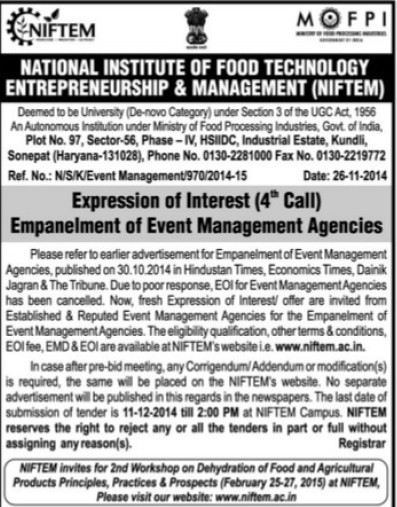 Empanelment of Event Management Agencies (National Institute of Food Technology Entrepreneurship and Management (NIFTEM))