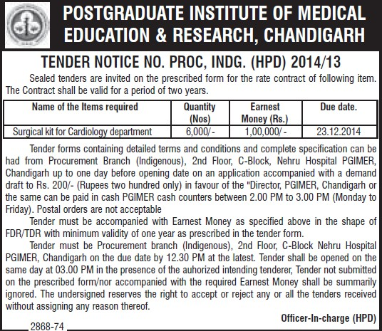 Supply of Surgical kit (Post-Graduate Institute of Medical Education and Research (PGIMER))