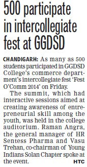 500 participate in intercollegiate fest (GGDSD College)